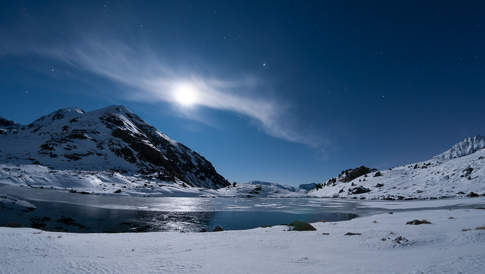 Tristaina lakes in full moon